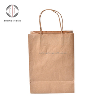 china suppliers custom cheap Brown Kraft Paper shopping food grocery Bag With handle