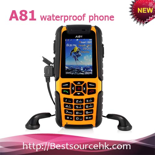 "New Rugged Mobile Phone ""A81"" - Dustproof, Shockproof, Waterproof, Quad Band GSM"