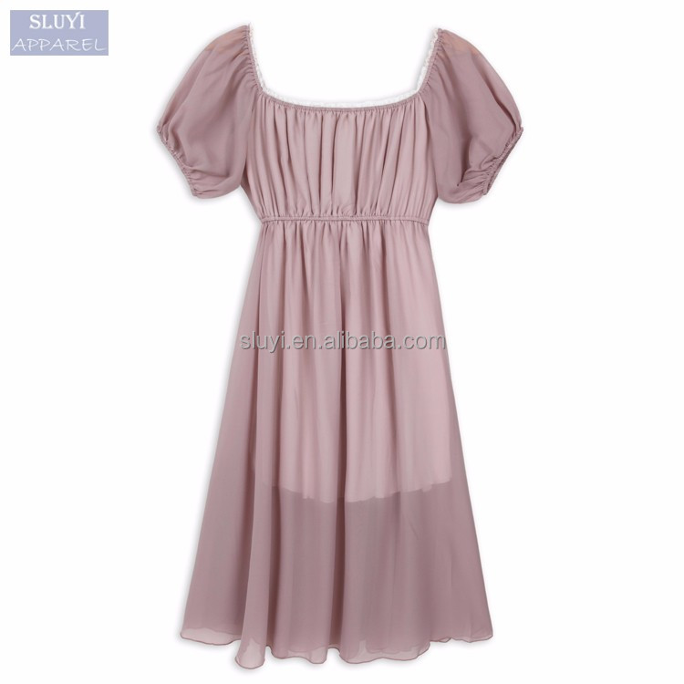 sexy wedding night dresses girls loose O neck ruffles short sleeve lining elastic waist women sexy night dress for honeymoon
