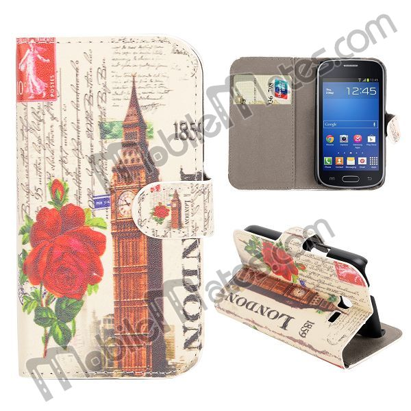 Fashionable Colorful Wallet Case For Samsung S7390 S7392 Galaxy Trend Lit, Leather Cover with Flower