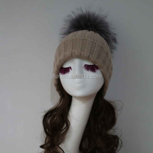 Fashion Party Headgear With Women Universal Design Of Genuine Raccoon Fur Bobbles