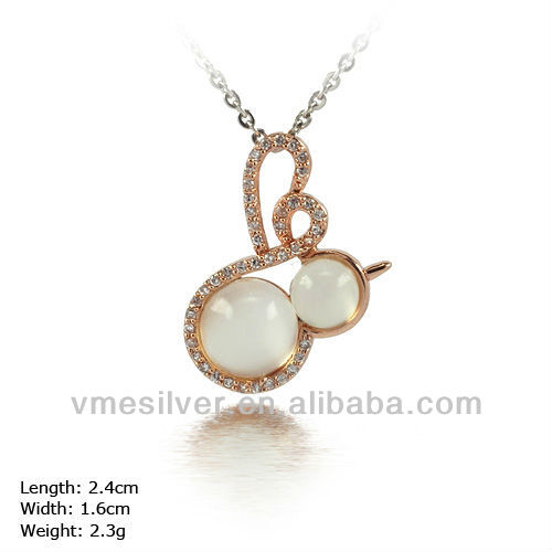 PXH-0981 925 Sterling Silver Gold Pendant With CZ Stone & Opal spring jewelry Cute Design For Girls