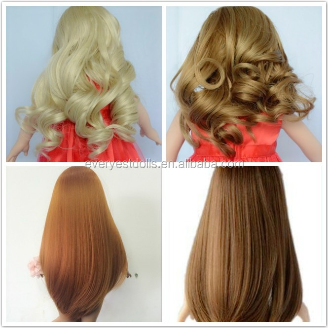 long brown straight doll wig/ doll wigs human hair wig for sale