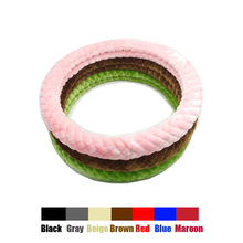 Warm Plush Steering Wheel Cover Long Wool Sheepskin Car Wheel Cover