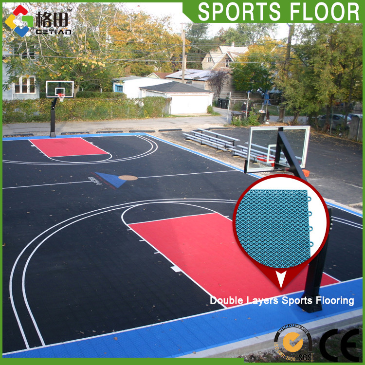 CE Standard pp interlocking plastic portable basketball court sports flooring,sport outdoor flooring material