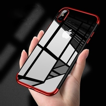 for Apple iPhone X Clear Thin Slim Pure Semi Electroplating Side Soft TPU Protective Back Cover Case Red