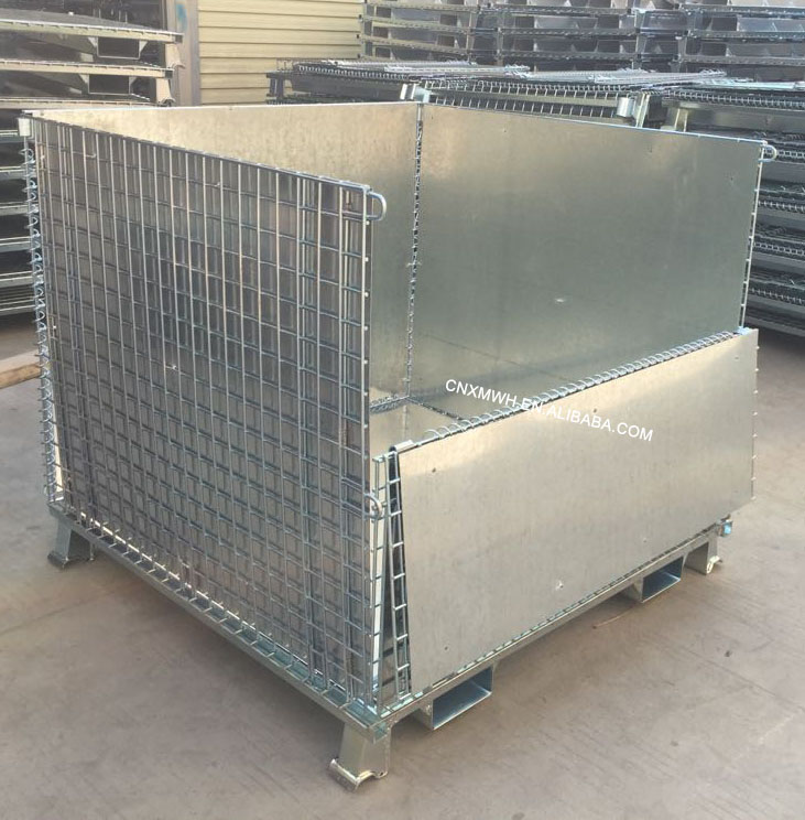 Folding Stackable Iron Wire Cage Mesh Container with Forklift Entrance