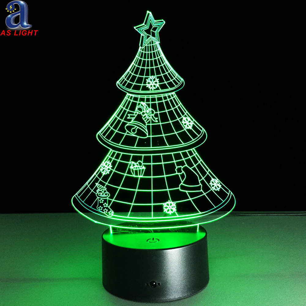 Creative Gifts Idea 3D Musical Christmas Tree Night Lights with 7 Colors Changing Flashing Light