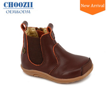 Choozii Winter Unisex Brown Toddler Kids Genuine Leather Boots for Boys with Hard Rubber Sole
