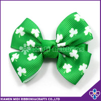 Hot Selling Hawaiian Clover Flower Korean Ribbon Green Hair Bow Clip For Kids