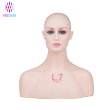 Mannequin head with shoulders skin realistic make up mannequin head