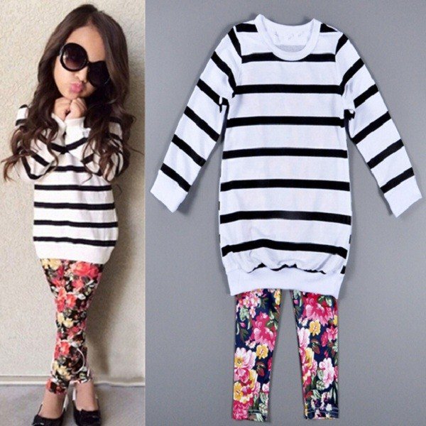 F40485A Fall wholesale boutique kids clothes sets striped t shirt and print legging children girl clothing sets