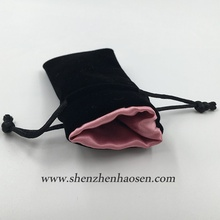 Custom Chinese Velvet Earrings Gift Pouches with Pink Satin Lining
