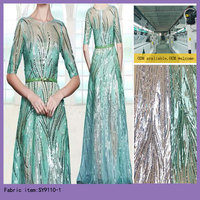 Party Dress Material Net Fabric,Tulle Net lace Fabric Nice Appliqued Sequins Sheer Embroidery Net Fabric