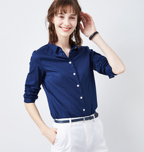 Lady's bamboo organic cotton solid color slim fit blouse
