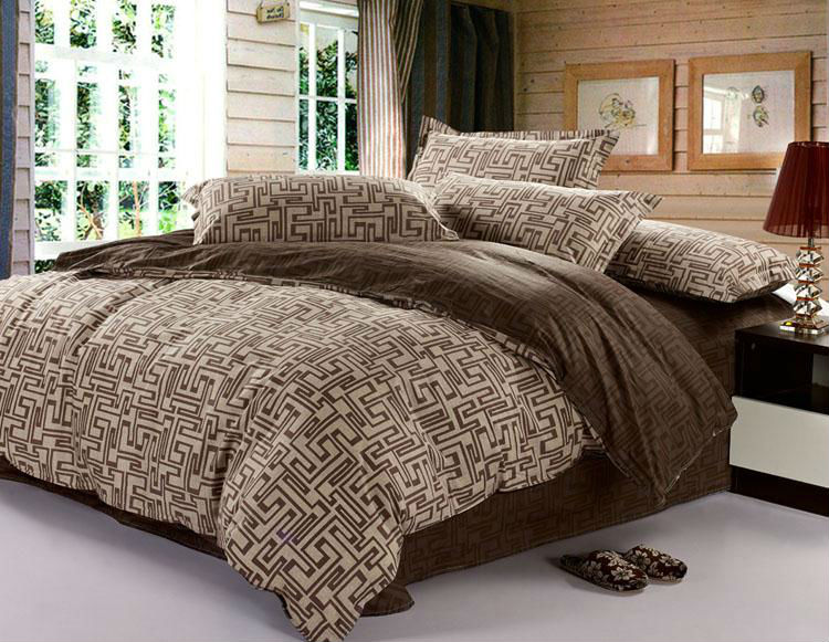 100% cotton Greek key 4 pieces bedding set - Brown
