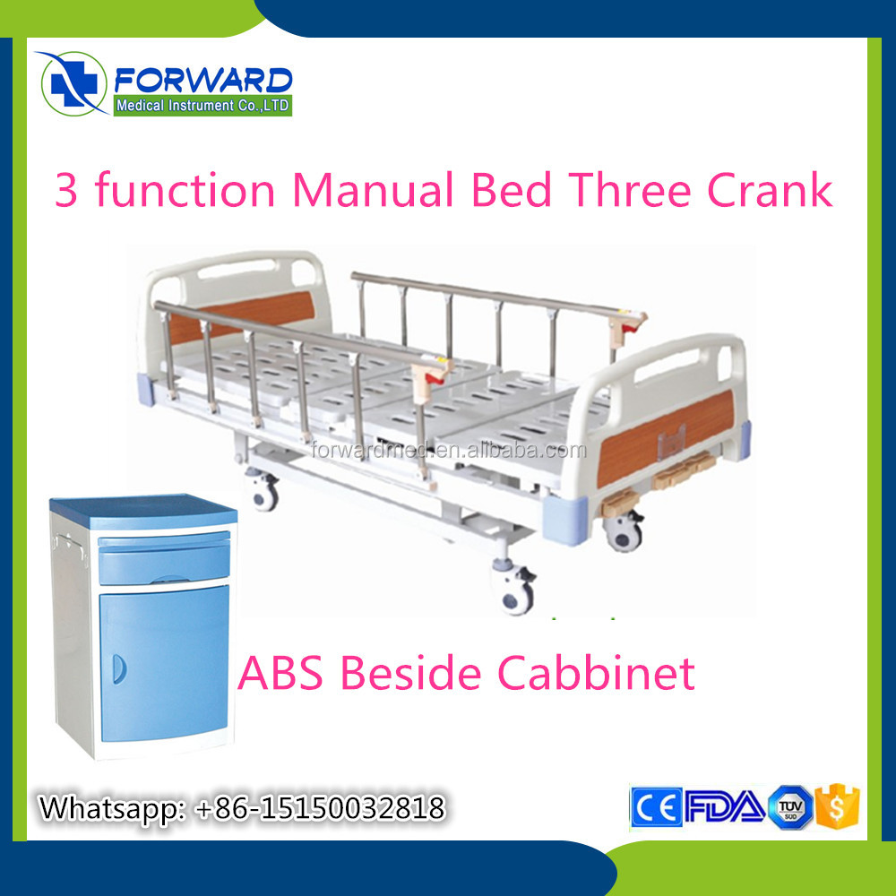two cranks 3 functions patients manual hospital bed for wholesalers