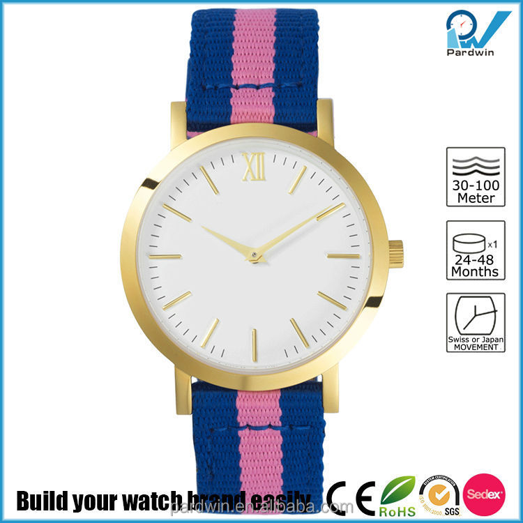 Bernadotte inspiration pink and blue wristband nylon women dress watch small polished gold stainless steel case and buckle