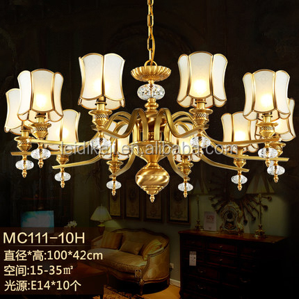 European brass luxury crystal 10 light chandelier for hotel