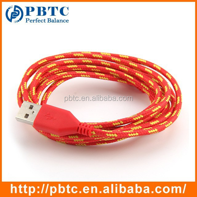 Wholesale 2 Meter Red Braided USB Data Cable Driver For iPhone 5