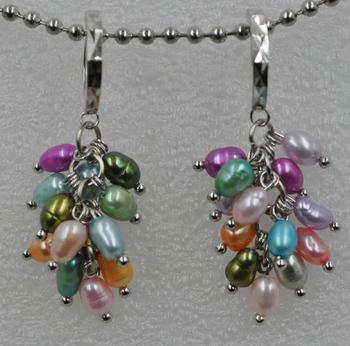 Handmade Multi Colored Genuine Freshwater Pearl Drop Earring Q30177