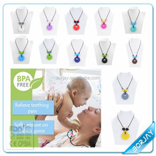 Food Grade Silicon Teething Pendant / Silicone Teething Necklace For Baby Chewing