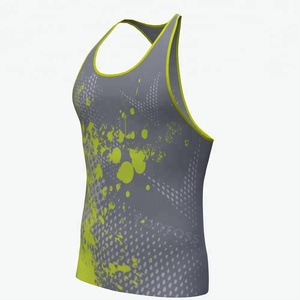 Sublimation Eyelet mesh fabric custom stringer men tank top gym men fitness