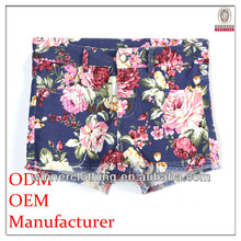 best price ladies good quality loose-fitting short printed rubber short pants