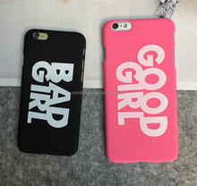[Youngmeet]New arrival BAD/GOOD GIRL pattern couple phone case for Iphone 6 6s hard matte PC