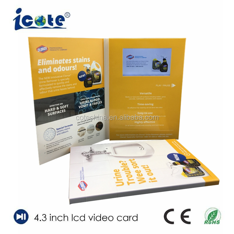 Cote 2.4-4.3 inch lcd greeting video cards for desk calendar with headphones