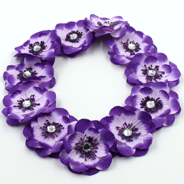 Fashion cute women girls purple flowers rhinestone hairband for bridal elastic headbands flowers wedding