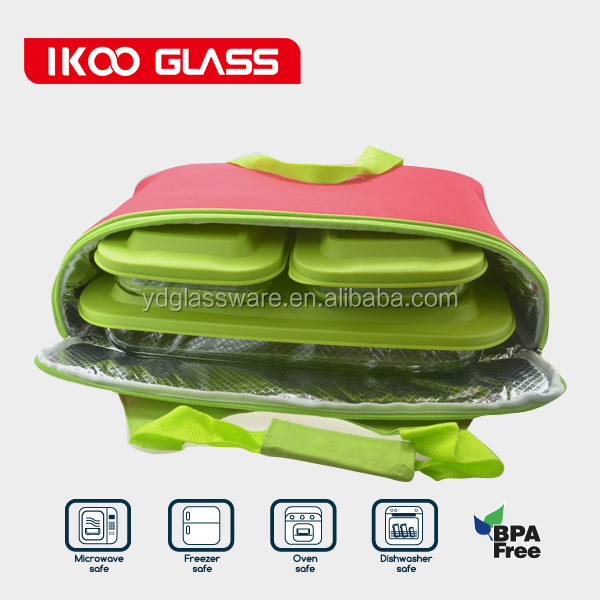 6 pcs rectangular glass bakeware set microwave safe set with bag (1.0L,1.0L, 3.0L)