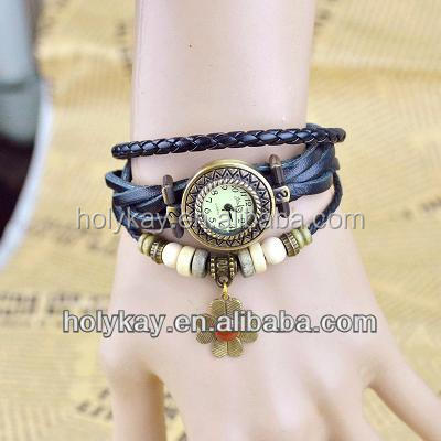 Hot sell leather vintage ladies bracelet Wrist watch