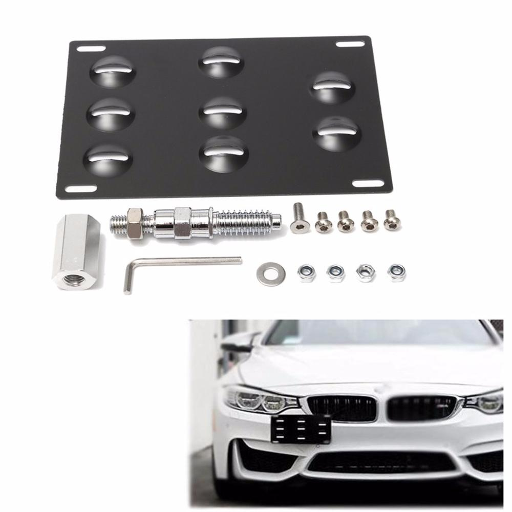 Black Front Bumper Tow Hook License Plate Mounting Bracket Holder For BMW 1 3 X5 X6