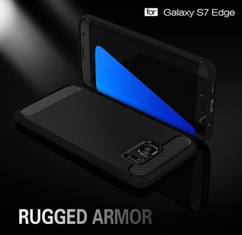 Brushed Carbon Fiber TPU Silicone back phone Case cover for Samsung S7 Edge ------- Laudtec