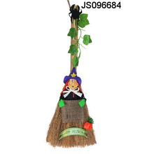 Witch or scarcrow broom hanging, for hanging outdoor, Halloween craft decoration