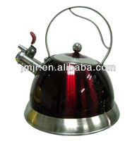 Modern 3.0L Super Red Stainless Steel Whistling Kettle Suitable For Induction And Gas