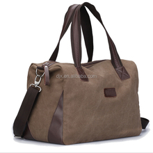 Promotional sports duffle bag Vintage High Capacity 100% Cotton Canvas Travelling Tote Bag with leather handles