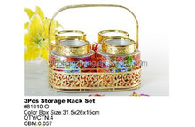 4 Pieces Gold Decal 1200ml Glass Storage Canisters Set with Gold Plastic Lid in Gold Handle Wire Stand