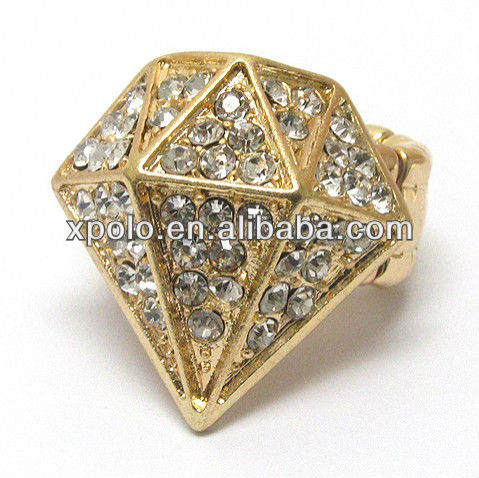 Crystal deco large diamond shape stretch ring