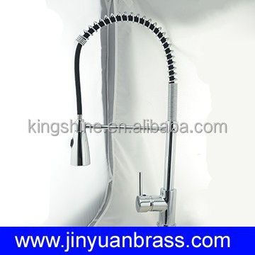 lead free brass kitchen faucet spring pull out sprayer polished with chrome plated commercial faucet copper taps