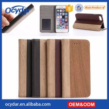 Hot Selling Factory Direct Supply Wooden Pattern Leather Wallet Case for iPhone 7