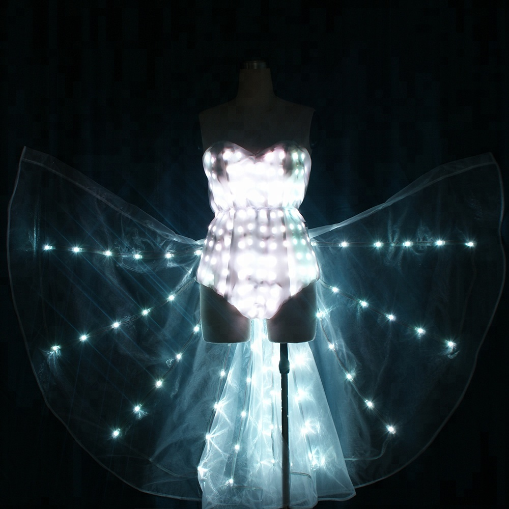 WL-0201 LED costumes LED Light Up Tron Dance costume with Cloak LED dance suit with Isis wings LED Sexy Girl Costumes Night Club