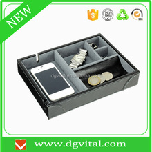 custom new products for mobile phone charging station Faux PU leather desk tray C11