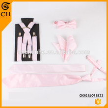 Hot Sale Fashion Customized Design Pink Elastic Lady Suspender and Bow Tie
