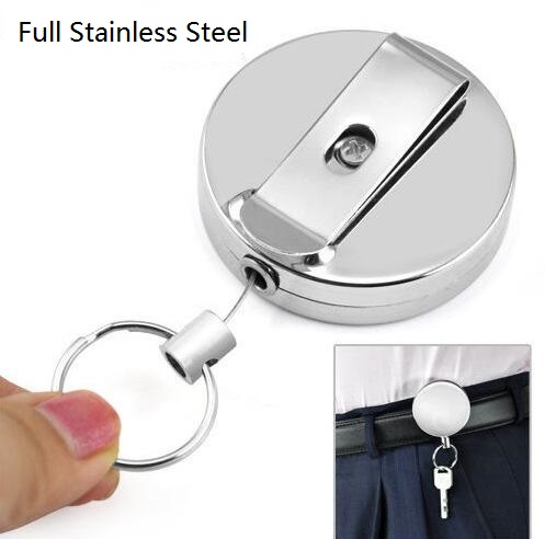 Pocket Retractable Key Holder for Storage Small Tools EDC Anti-theft Keychain Card Badge Recoil Rope Key Ring Pull SUS Belt Clip