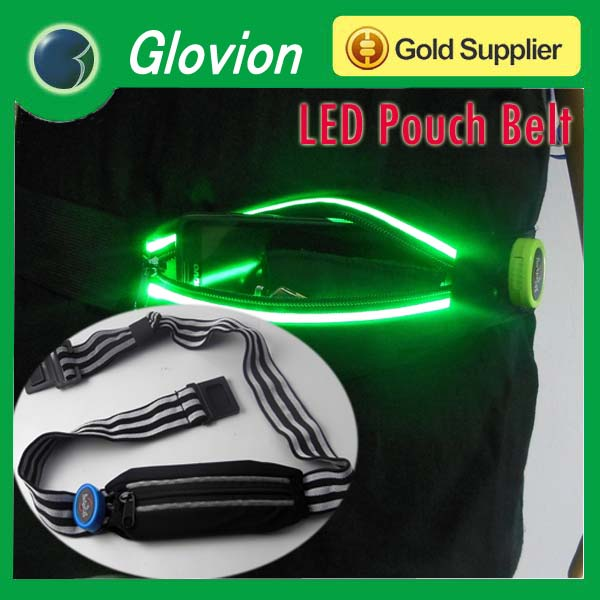 Best selling led waist bag led runing belt bag LED waist belt pouch
