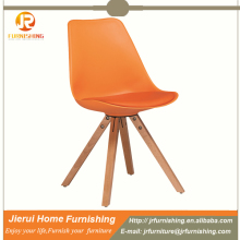 PP plastic leisure chair with wooden legs