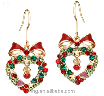 Gold Plated Red Heart Crystal Enamel Christmas Hook Earrings