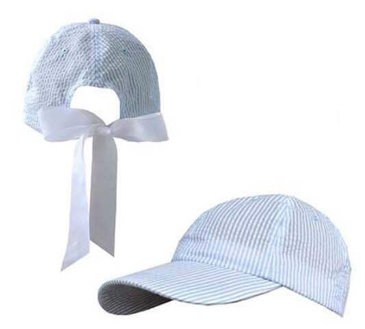Custom quality striped seersucker cap baseball hat with bow